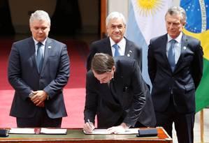 Os presidentes Iván Duque, Sebastián Piñera, Mauricio Macri e Jair Bolsonaro participam da criação do Prosul, em Santiago Foto: RODRIGO GARRIDO / REUTERS
