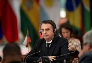 O presidente Jair Bolsonaro em evento com líderes sul-americanos, no Chile Foto: Marcelo Segura / Reuters