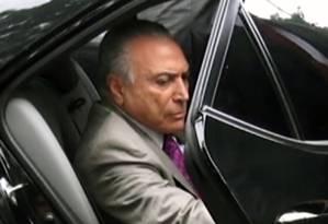 O ex-presidente Michel Temer quando foi preso em São Paulo 21/03/2019 Foto: MARIANA MENDEZ / AFP