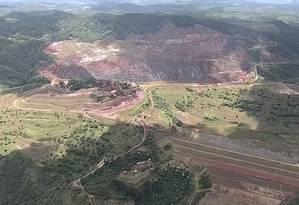 Barragem Sul Superior fica no município de Barão de Cocais, em Minas Gerais Foto: Reprodução/TV Globo