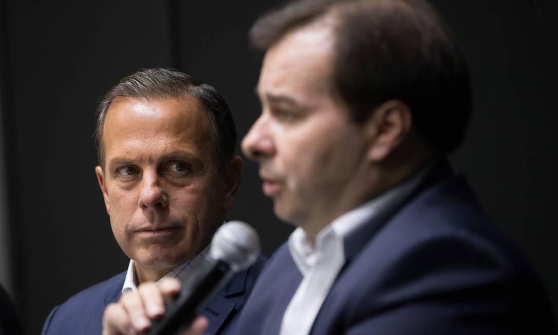João Dória e Rodrigo Maia, em encontro no mês passado Foto: Edilson Dantas / Agência O Globo
