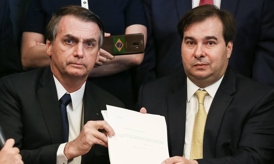 Presidente da República, Jair Bolsonaro, durante entrega da PEC da nova Previdência Foto: Marcos Corrêa / Agência O Globo