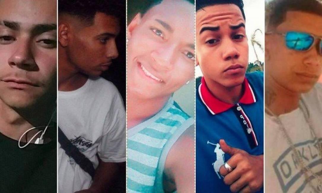 Os cinco jovens mortos dentro do condomínio Foto: Reprodução