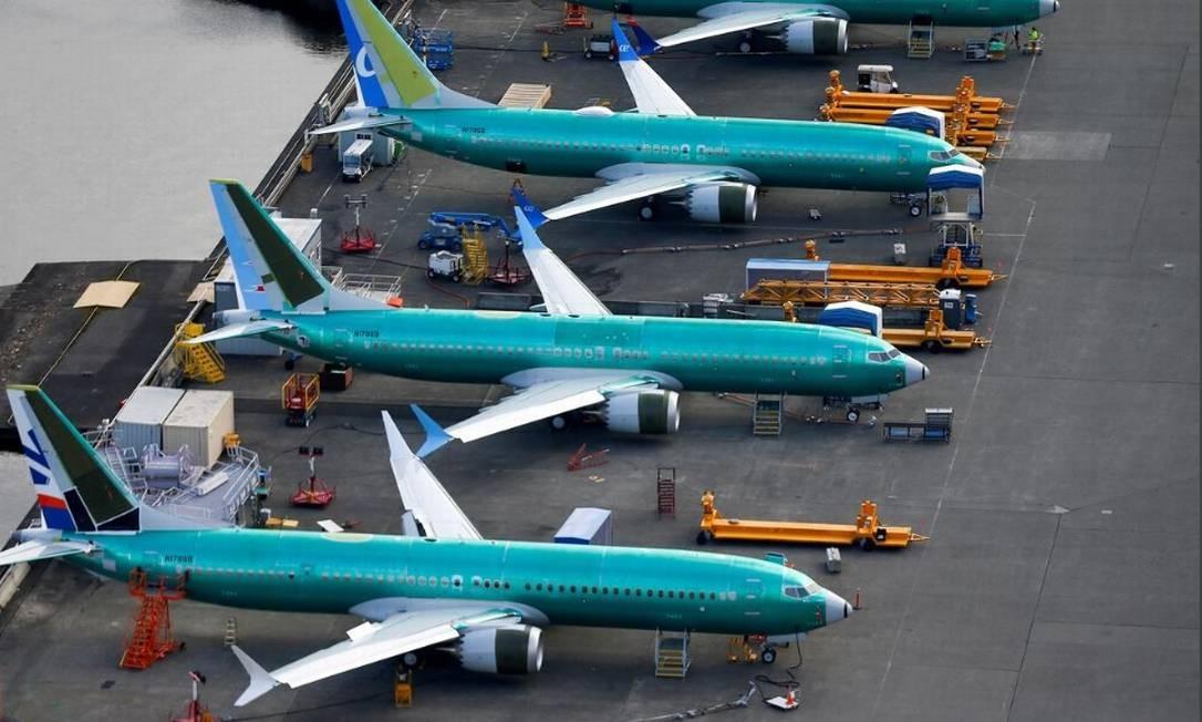 Foto aérea mostra unidades do 737 Max estacionadas na fábrica da Boeing em Renton, Washington Foto: Reuters