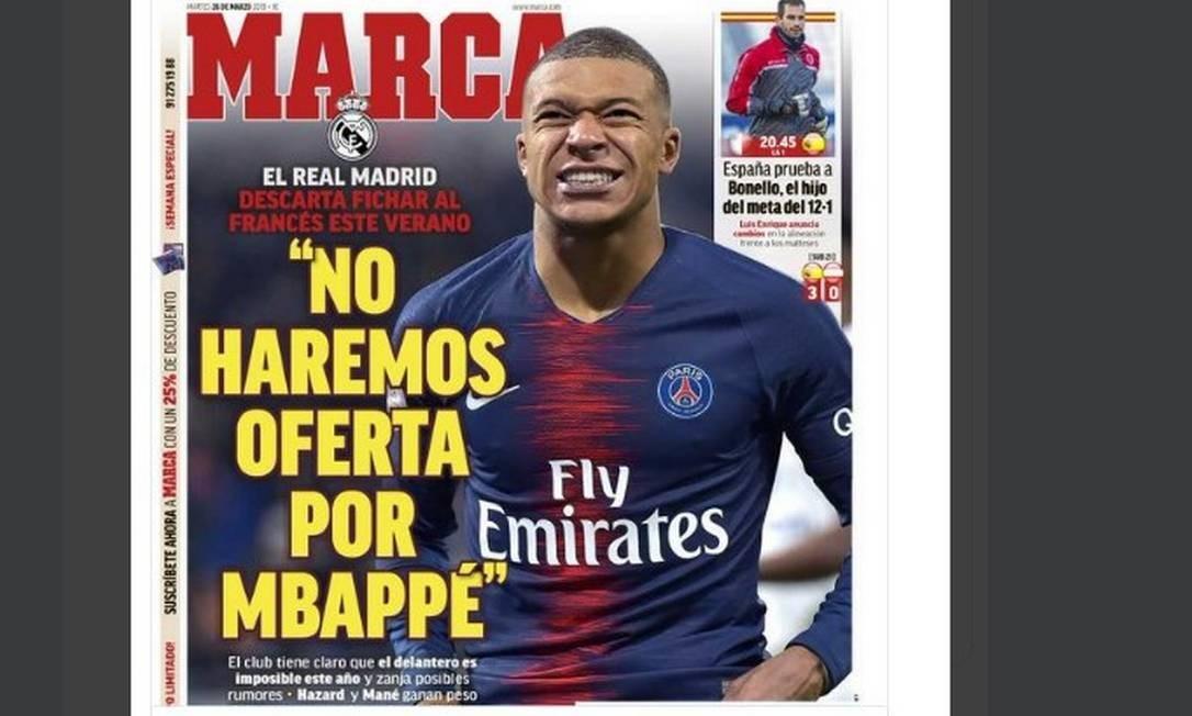 'Não faremos oferta por Mbappé', diz jornal espanhol Foto: Reprodução