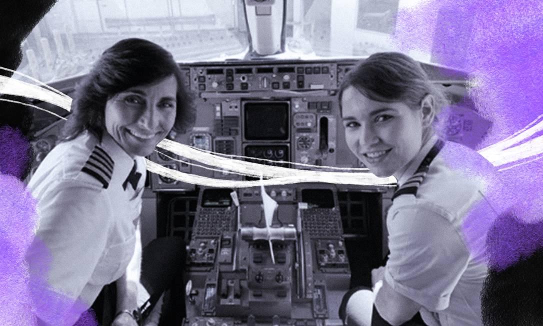 Wendy (à esq.) e Kelly Rexon, mãe e filha no comando de um avião Foto: Arte de Lari Arantes sobre reprodução do Instagram