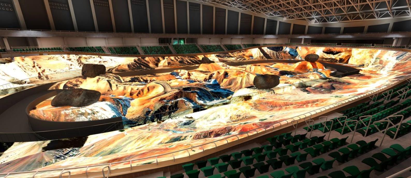 Projeção virtual de como será a Nave, que vai ocupar o espaço do velódromo olímpico Foto: Divulgação