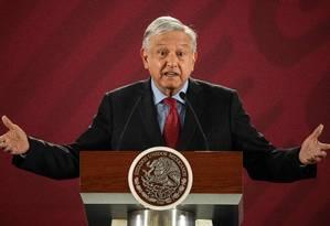 O presidente mexicano López Obrador durante conferência na Cidade do México Foto: PEDRO PARDO / AFP