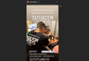 Neymar faz nova tatuagem Foto: Reprodução