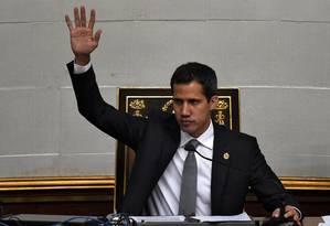 Autodeclarado presidente interino da Venezuela, Juan Guaidó, durante sessão da Assembleia Nacional Foto: FEDERICO PARRA / AFP