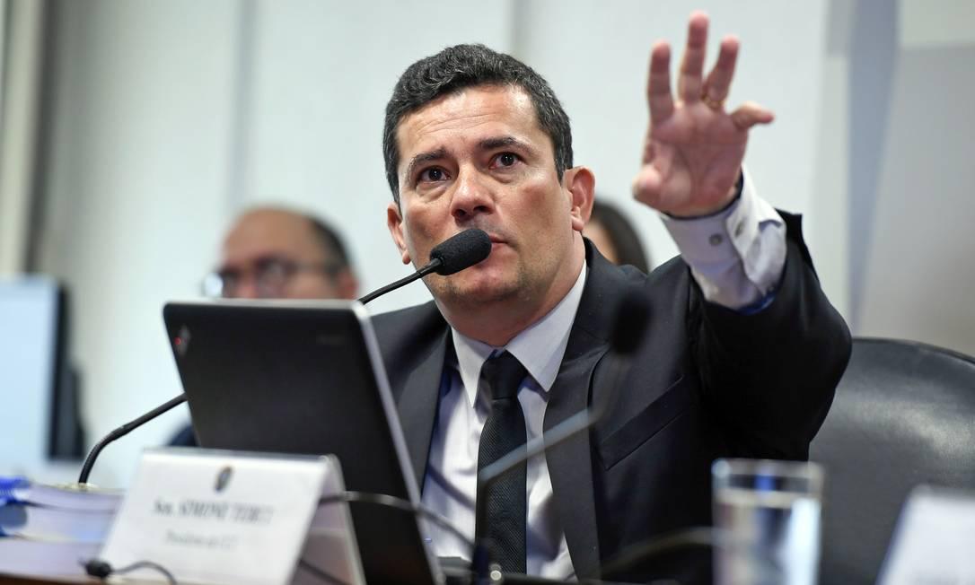 O ministro da Justiça, Sergio Moro, participar de audiência na CCJ do Senado Foto: Edilson Rodrigues/Agência Senado