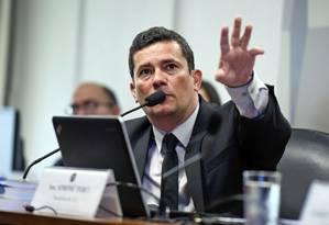 O ministro da Justiça, Sergio Moro, participa de audiência na CCJ do Senado Foto: Edilson Rodrigues/Agência Senado