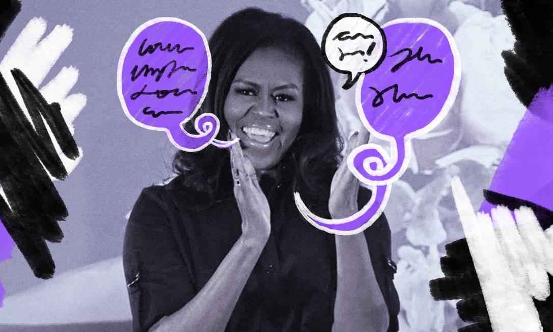 """Michelle Obama visita escola em Londres, em turnê para lançamento de sua autobiografia """"Minha história"""" Foto: Arte de Lari Arantes sobre foto de Ben Stansall/AFP"""