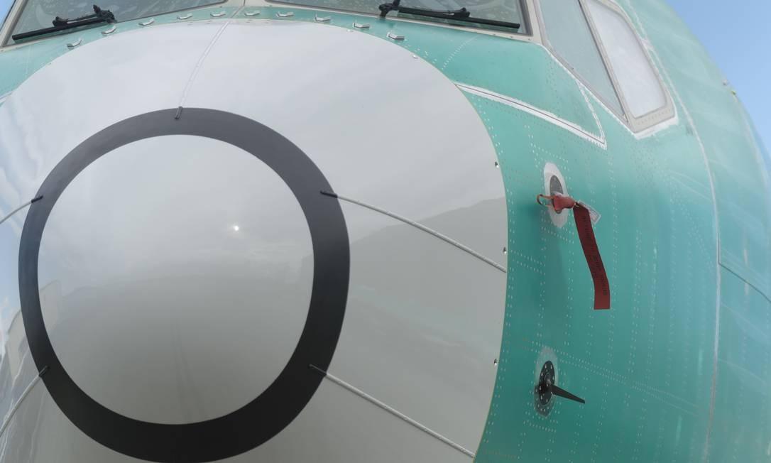 Um dos dois sensores que medem o ângulo de inclinação do nariz do 737 MAX, que fornecem informações para o software de controle de voo Foto: STEPHEN BRASHEAR / Stephen Brashear/AFP/22-3-2019