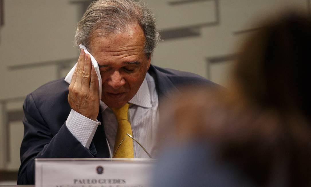 Nesta quarta-feira, o ministro Paulo Guedes decidiu comparecer à Audência Pública na Comissão de Assuntos Econômicos do Senado para falar sobre seus planos na Economia Foto: Daniel Marenco / Agência O Globo