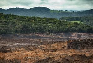 O cenário de destruição ambiental após o rompimento da barragem de Córrego do Feijão, em Brumadinho, em Minas Gerais Foto: Alexandre Cassiano / Alexandre Cassiano/19-2-2019