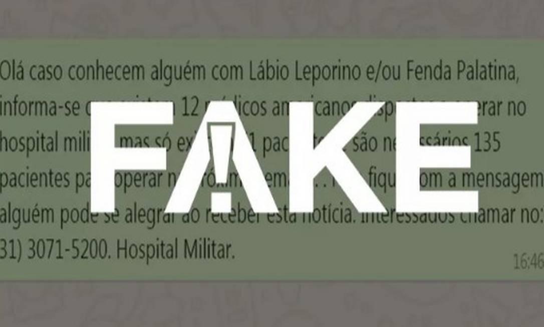 A mensagem viralizou no Facebook e em grupos do WhatsApp Foto: Reprodução