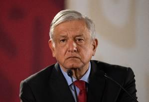 Presidente mexicano em coletiva de imprensa matinal Foto: PEDRO PARDO / AFP