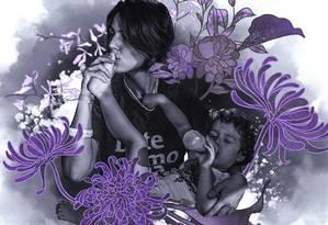 Manuela D'Ávila e sua companheira e filha, Laura Foto: Ilustração Lari Arantes sobre reprodução Instagram