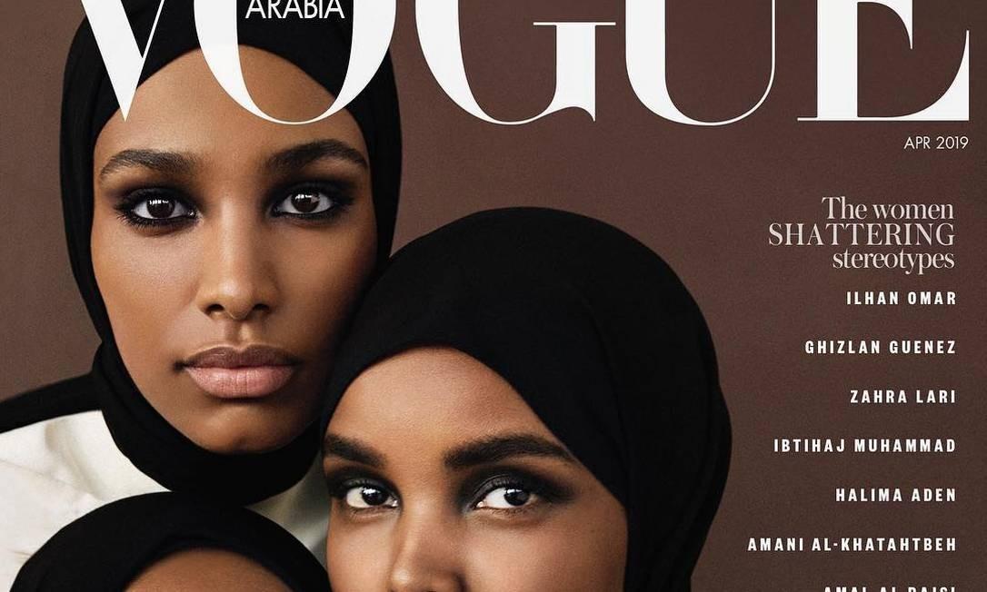 Halima Aden, Amina Adan e Ikram Abdi Omar estão na capa da edição Foto: Reprodução/Instagram