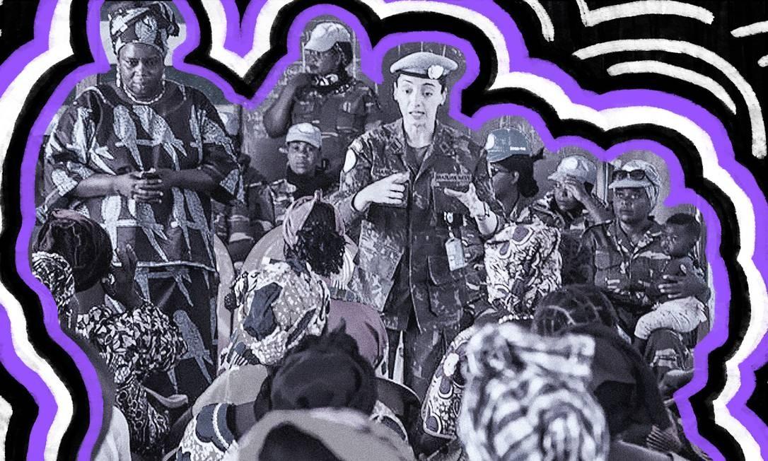 Ouvido amigo. Comandante Márcia Braga em reunião com mulheres; histórias de sofrimento são material para elaborar estratégias militares durante guerra Foto: Arte de Lari Arantes sobre foto da ONU