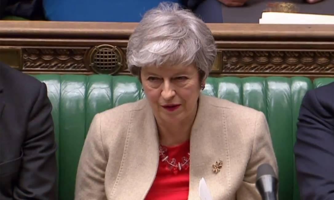 Primeira-ministra britânica, Theresa May acompanha 3ª votação do Parlamento sobre acordo do Brexit Foto: PRU / AFP