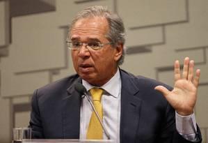 O ministro da Economia, Paulo Guedes, durante audiência no Senado Foto: Daniel Marenco / Agência O Globo