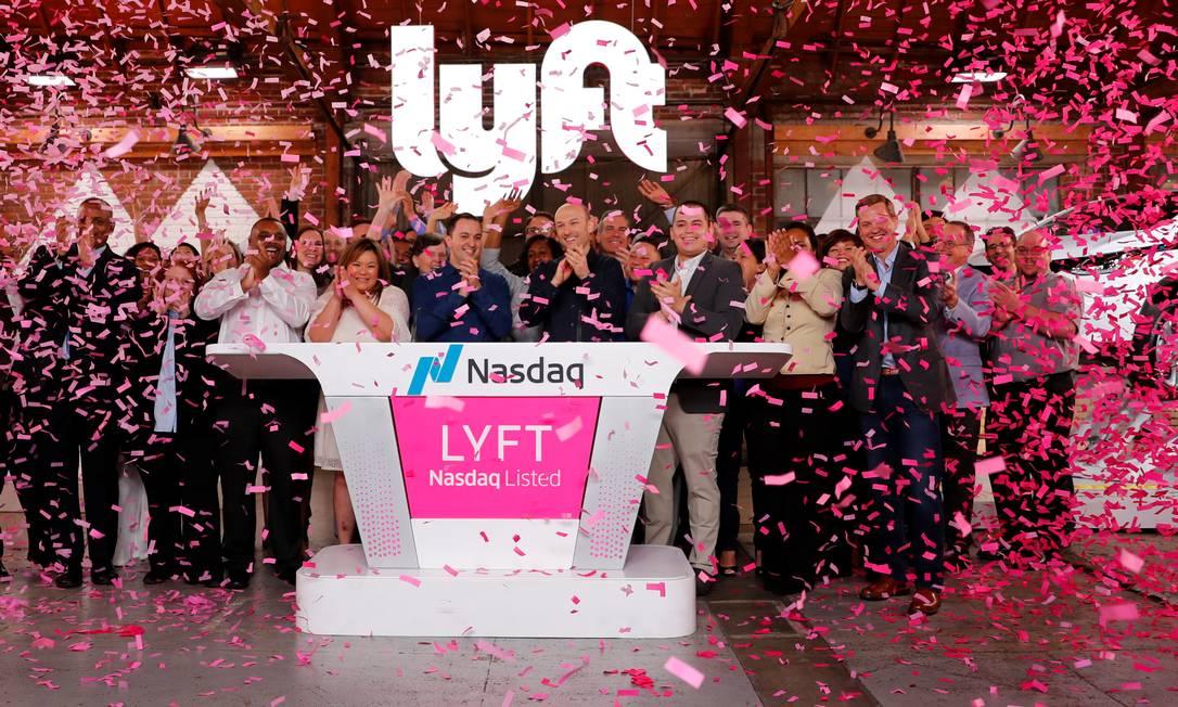 Oferta inicial de ações da Lyft. Foto: MIKE BLAKE / REUTERS