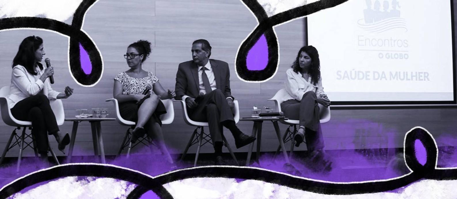 Na última quarta-feira o evento Encontros O GLOBO Saúde e Bem-estar debateu sobre saúde da mulher Foto: Arte de Ana Luiza Oliveira sobre foto de PedroTeixeira