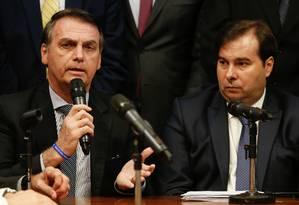 O presidente Jair Bolsonaro e o presidente da Câmara, Rodrigo Maia 20/03/2019 Foto: CAROLINA ANTUNES / AFP
