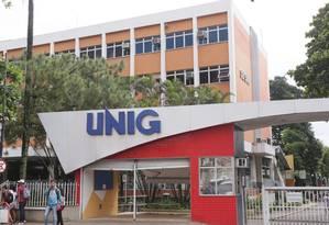 Fachada da Unig: após CPI em 2016, MEC instaurou processo administrativo contra a universidade, afastou o corpo diretivo e a impediu de registrar novos diplomas Foto: Cléber Junior