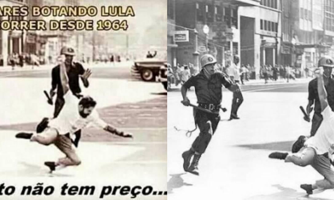 Foto montagem falsifica registro histórico do fotojornalista Evandro Teixera Foto: Reprodução