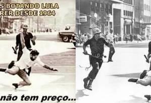 Fotomontagem falsifica registro histórico do fotojornalista Evandro Teixera Foto: Reprodução