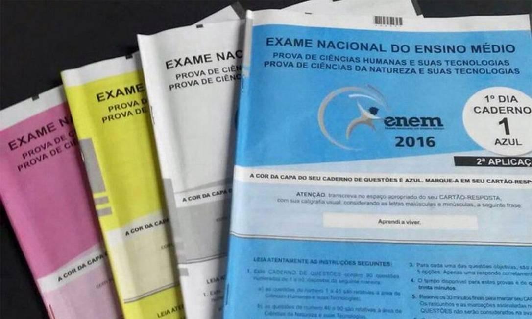 Provas do Enem vêm em quatro cores, para dificultar possíveis fraudes Foto: Divulgação/Inep