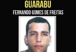 O traficante Fernando Gomes de Freitas, o Guarabu, chefe do tráfico do Complexo do Dendê Foto: Divulgação / Disque Denúncia