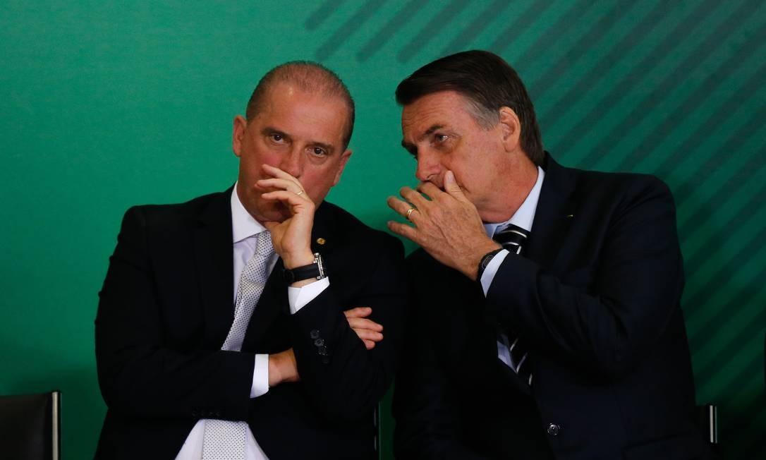 O presidente Jair Bolsonaro e o ministro da Casa Civil, Onyx Lorenzoni 02/01/2019 Foto: Pablo Jacob / Agência O Globo
