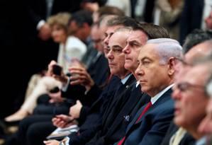 Presidente brasileiro, Jair Bolsonaro participa de evento de empresários ao lado do primeiro-ministro israelense, Benjamin Netanyahu Foto: RONEN ZVULUN 02-04-2019 / REUTERS