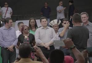O presidente do Senado, Davi Alcolumbre, durante evento para entrega de equipamentos em Oiapoque (AP) Foto: Reprodução/redes sociais