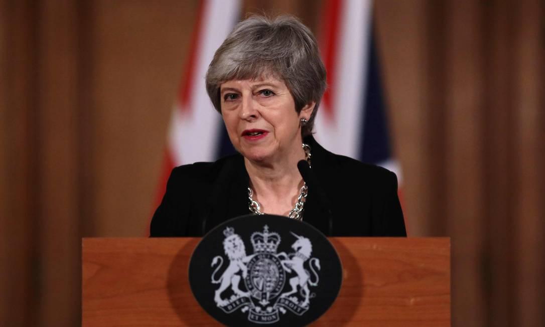 Premier Theresa May faz discurso em Londres após longa reunião sobre Brexit Foto: JACK TAYLOR / AFP