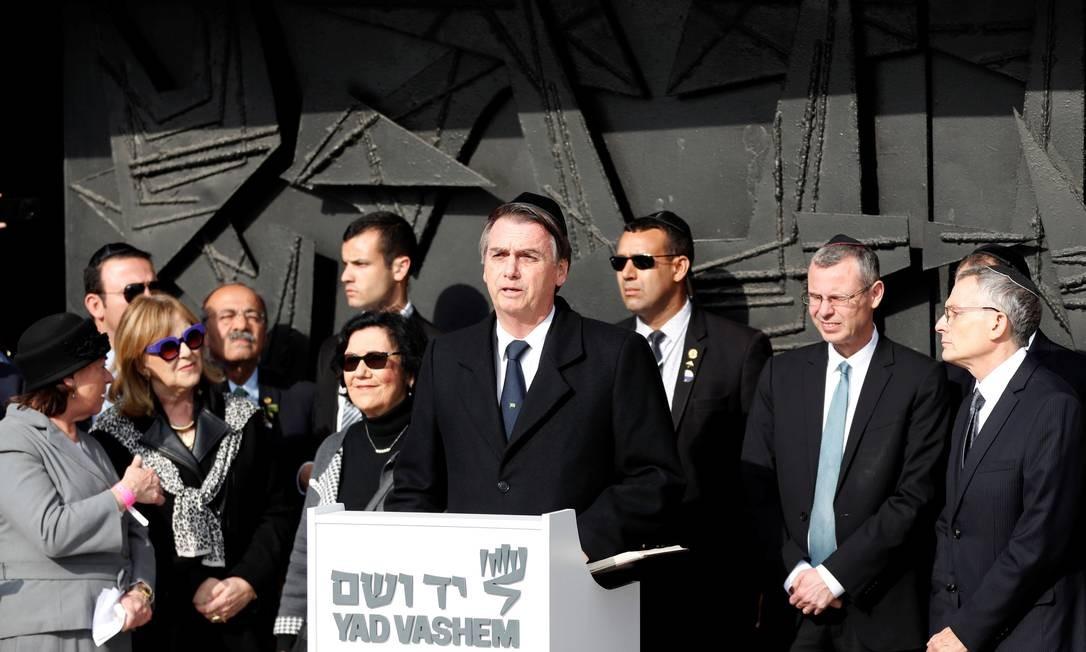 O presidente Jair Bolsonaro durante discurso no Museu do Holocausto Foto: RONEN ZVULUN / REUTERS