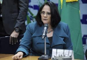 A ministra da Mulher, da Família e dos Direitos Humanos, Damares Alves, em evento na Câmara Foto: Gilmar Felix/ Agência Câmara