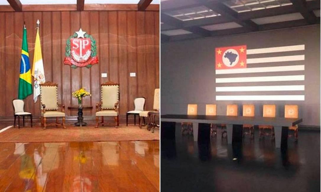 Antes e depois da reforma no Palácio dos Bandeirantes Foto: Reprodução