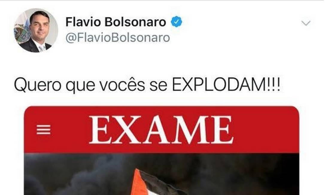 Tuíte de Flávio Bolsonaro sobre o Hamas Foto: Reprodução