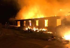 Centro Highlander foi destruído por chamas, nos EUA Foto: Reprodução/New Market Vfd