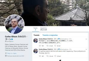 Empresário Carlos Ghosn criou conta no Twitter nesta quarta-feira Foto: Reprodução