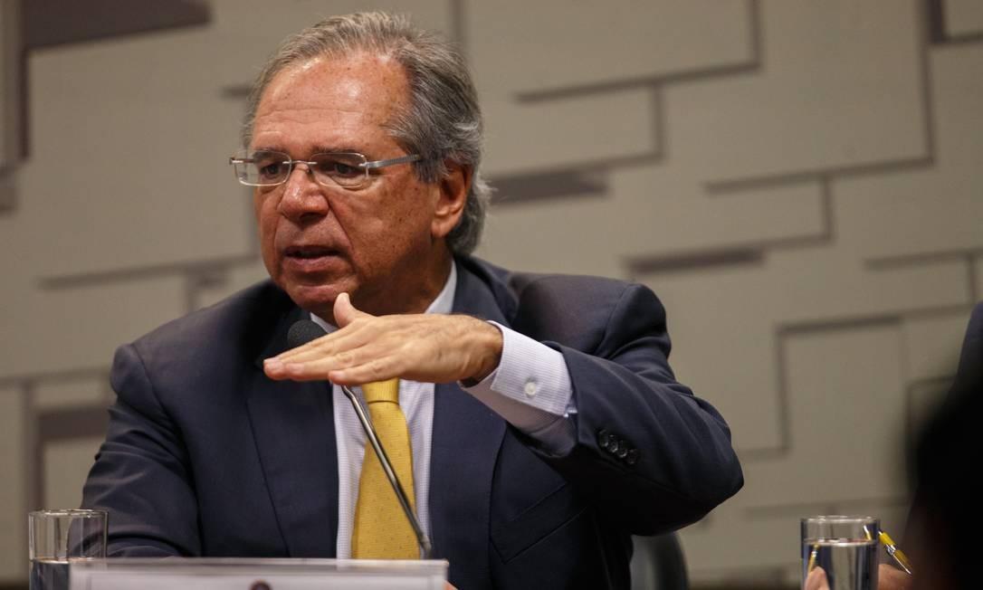 Paulo Guedes, ministro da Economia do governo Jair Bolsonaro Foto: Daniel Marenco / Agência O Globo