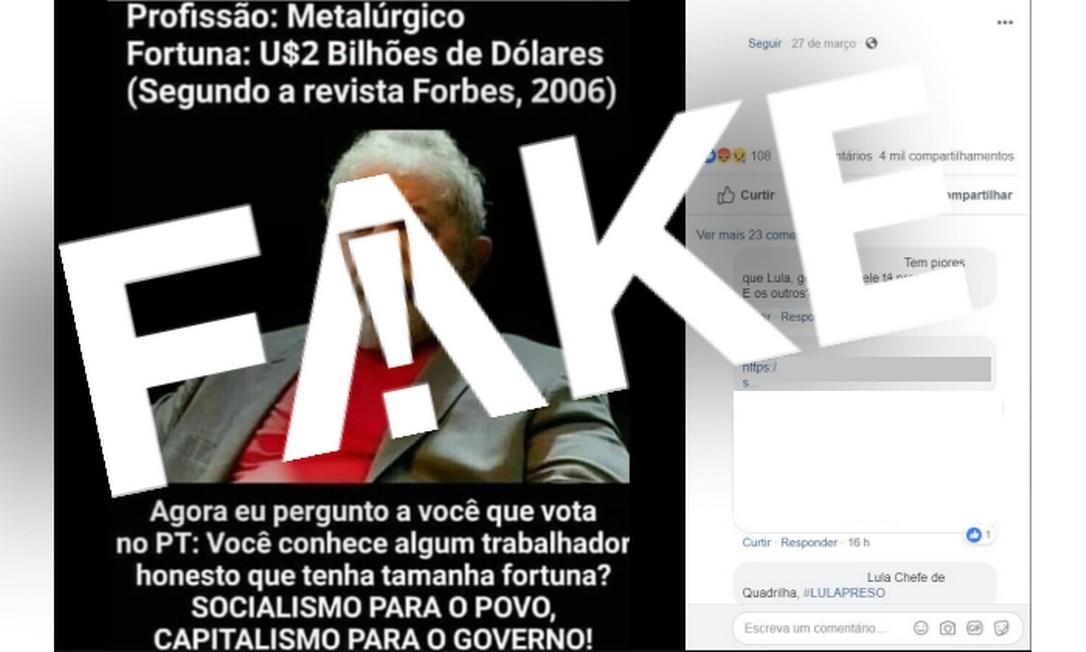 É #FAKE que Lula aparece na lista de mais ricos do mundo da revista Forbes Foto: Reprodução