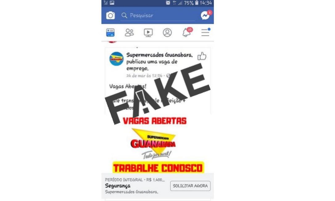 É #FAKE página de inscrições em suposto processo seletivo dos Supermercados Guanabara Foto: Reprodução