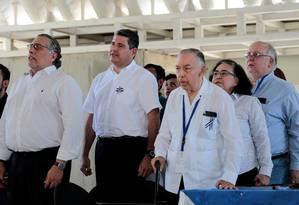 Integrantes da Aliança Cívica pela Justiça e a Democracia cantam hino da Nicarágua em Manágua Foto: OSWALDO RIVAS 01-04-2019 / REUTERS