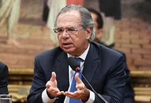 Ministro da Economia Paulo Guedes durante audiência na Comissão de Constituição e Justiça (CCJ) da Câmara Foto: EVARISTO SA / AFP